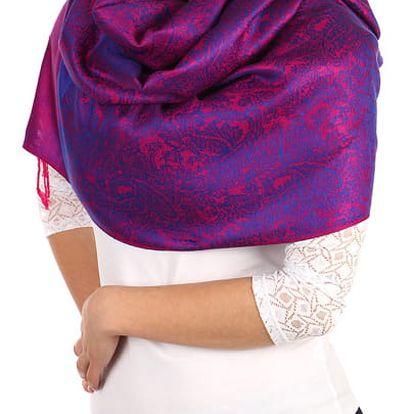 Vzorovaná pašmína fialová