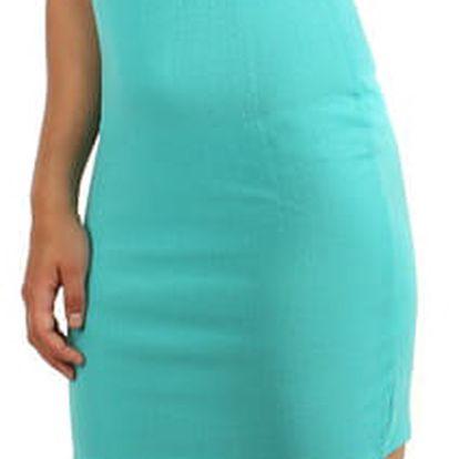 Pouzdrové šaty s průhlednými rameny světle modrá
