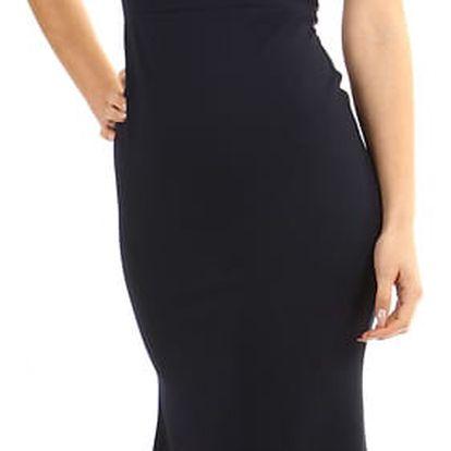 Dlouhé večerní šaty s krajkou tmavě modrá