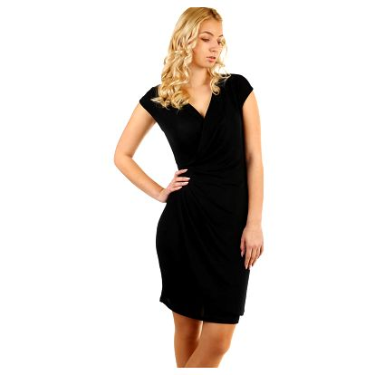Třpytivé šaty se zavinovacím efektem černá