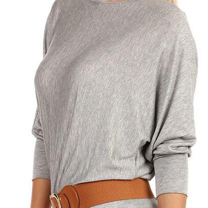 Dámské tričko s netopýřími rukávy šedá