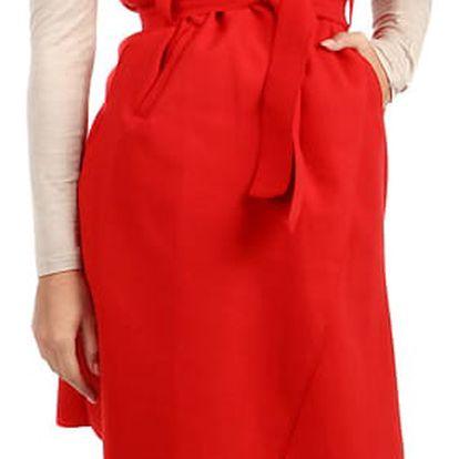 Dlouhá jednobarevná vesta s páskem červená