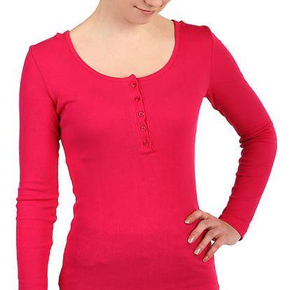 Dámské žebrované tričko s kapucí růžová