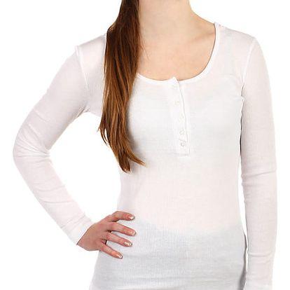 Dámské žebrované tričko s kapucí bílá