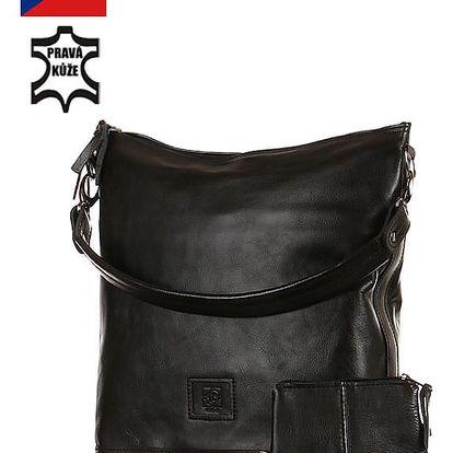 Velká kabelka z pravé kůže - Česká výroba černá