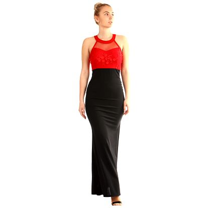 Dlouhé plesové šaty s aplikací černá