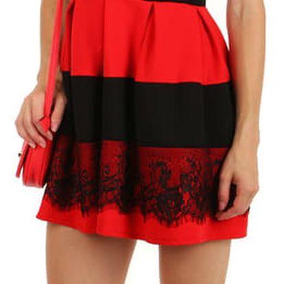 Elegantní dvoubarevné šaty s krajkou červená