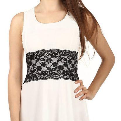Krátké šaty s krajkou v pase bílá