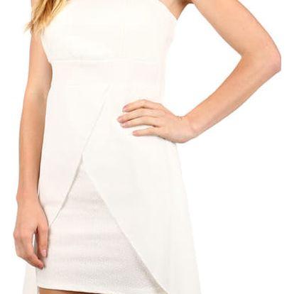 Elegantní jednobarevné šaty s vlečkou bílá
