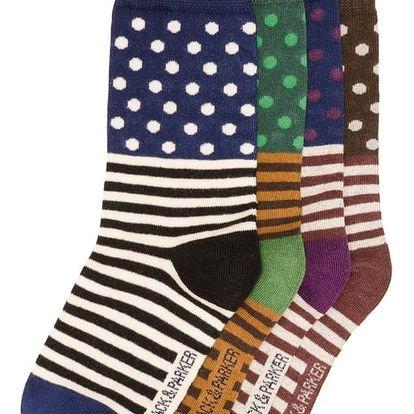 Sada 4 párů vysokých unisex ponožek Black&Parker London Payton,velikost37/43