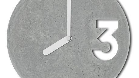 Betonové hodiny s plnými bilými ručičkami od Jakuba Velínského - doprava zdarma!