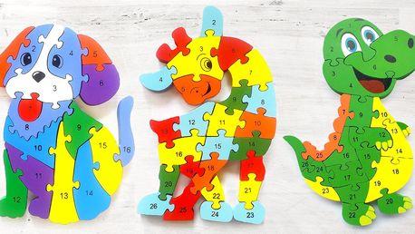 Dřevěné dětské puzzle pro rozvoj jemné motoriky