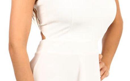 Krásné šaty s odhalenými zády a volnou sukní II.jakost bílá
