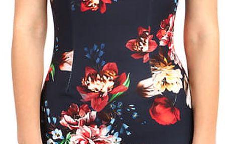 Mini šaty s květinovým vzorem tmavě modrá