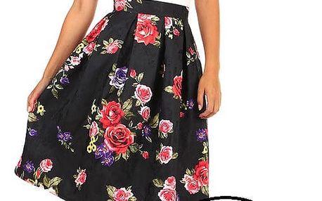 Áčková sukně s květinovým vzorem černá