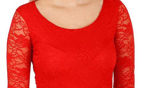 Dámské romantické krajkové tričko červená
