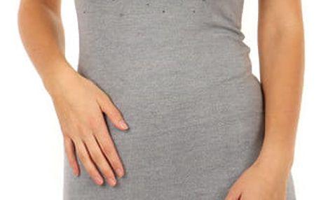 Úpletové dámské mini šaty s kamínky šedá