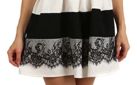 Elegantní dvoubarevné šaty s krajkou tmavě růžová