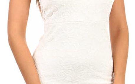 Romantické krajkované šaty bílá