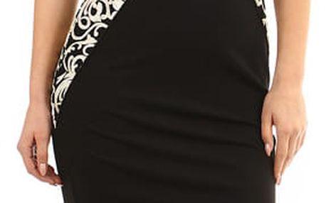 Černo-zlaté přiléhavé šaty - i pro plnoštíhlé