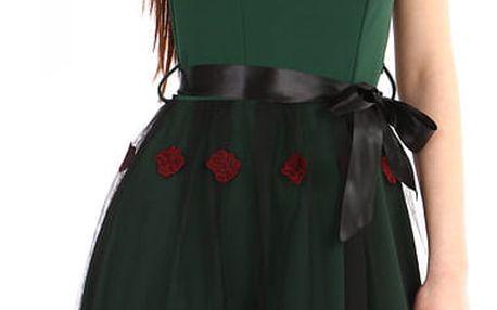 Áčkové večerní šaty s vyšívanou sukní z tylu zelená