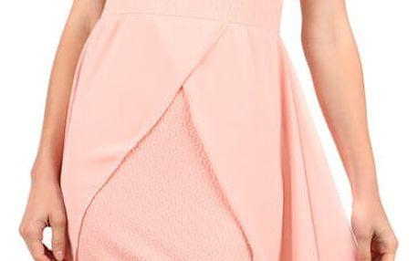 Elegantní jednobarevné šaty s vlečkou růžová