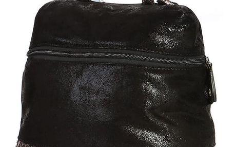 Malá lesklá kabelka/batoh 2v1 černá