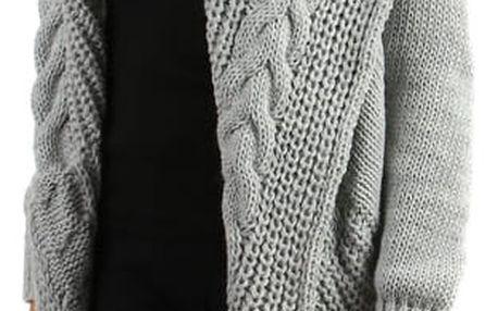 Teplý pletený kardigan bez zapínání tmavě šedá