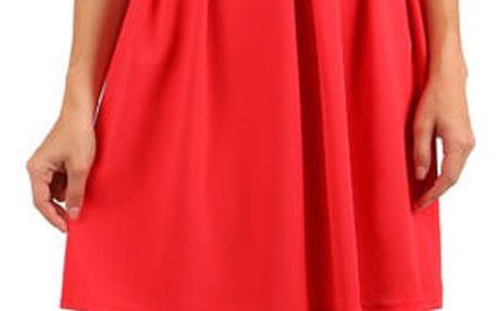 Šaty s dvojitými ramínky červená