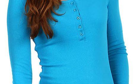Dámské žebrované tričko s kapucí modrá