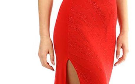 Dlouhé třpytivé šaty s rozparkem červená