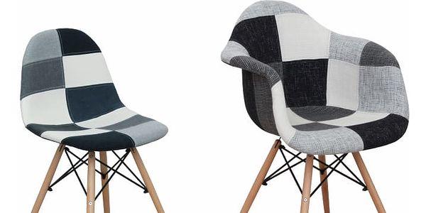 Křeslo, látka patchwork / buk, Kubis2