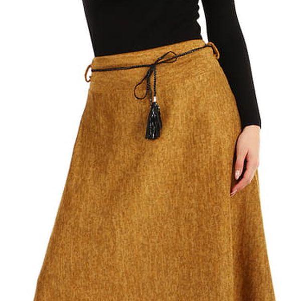 Dlouhá dámská úpletová sukně žlutá