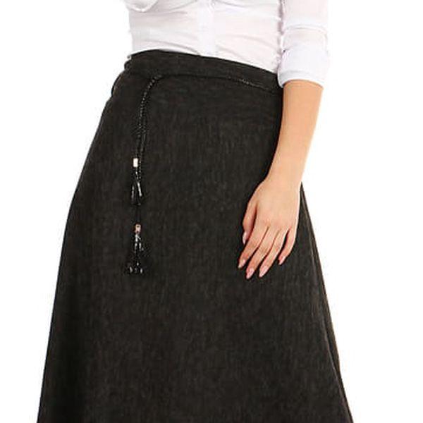 Dlouhá dámská úpletová sukně šedá