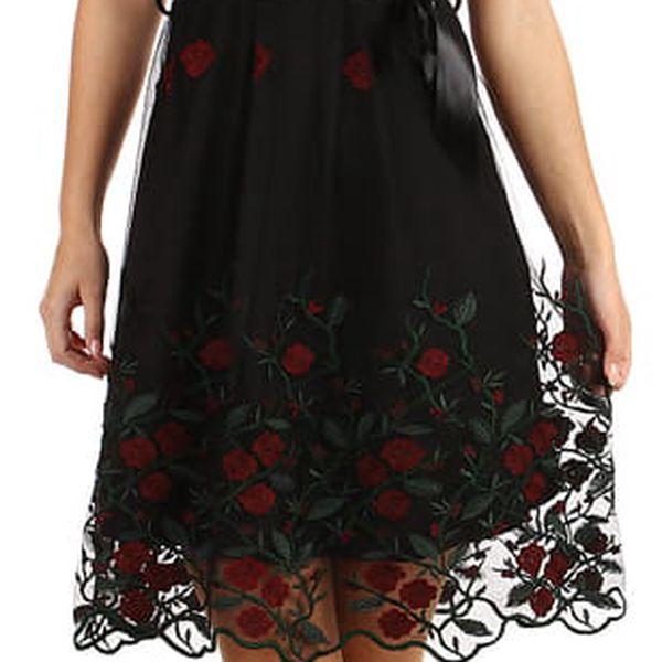 Áčkové večerní šaty s vyšívanou sukní z tylu černá