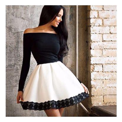 Dámské šaty s rukávem a širokou sukní