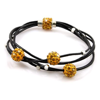 Fashion Icon Náramek kuličky s krystalky a kovovými korálky z umělé kůže