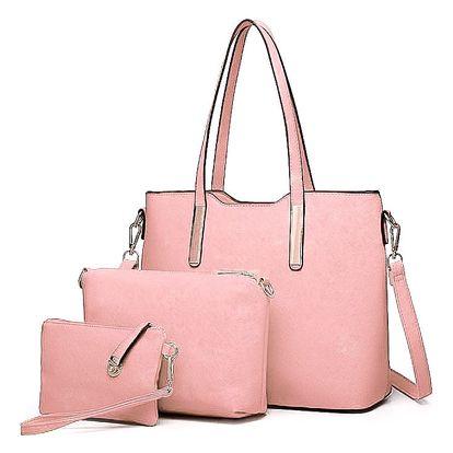 SET: Dámská světle růžová kabelka Ariana 6648