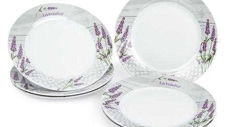 Jídelní talíř mělký Levandule, 6 ks, 23 x 2,5 cm 590878