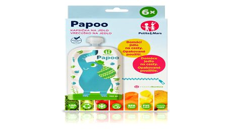 Petite&mars kapsička na jídlo Papoo Original 6ks Slon