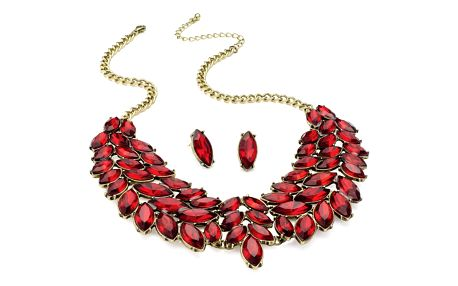 SET: Červený náhrdelník a náušnice Bridget 29013