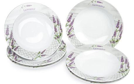 Jídelní talíř hluboký Levandule, 6 ks, 21,5 x 4 cm