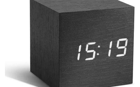 Černý budík s bílým LED displejem Gingko Cube Click Clock - doprava zdarma!