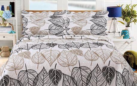 Přehoz přes postel s motivem listů se dvěma povlaky na polštář Sleeptime Floor,260x250cm - doprava zdarma!