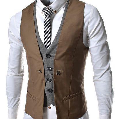 Pánská společenská vesta Garde hnědá