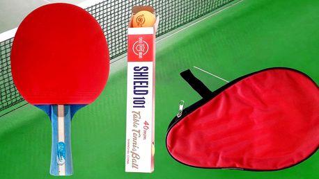 Pálka na stolní tenis s pouzdrem a míčky