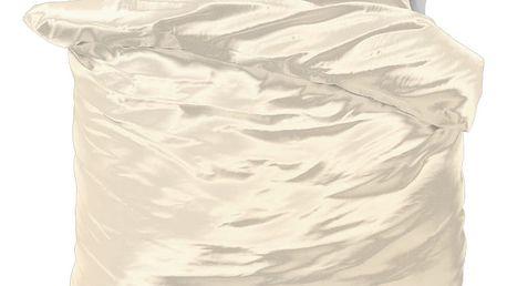 Béžové povlečení ze saténového mikroperkálu na dvoulůžko Sleeptime, 200x220 cm
