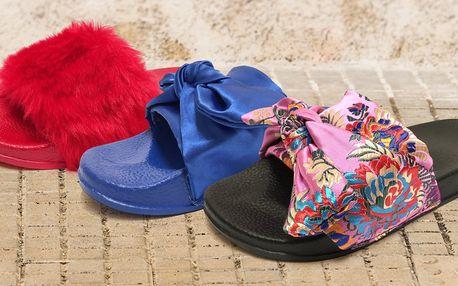 Dámské pantofle s výšivkou nebo kožešinkou