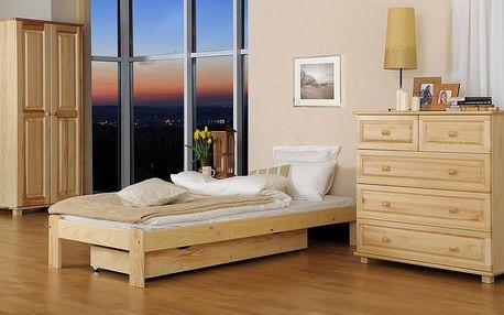 Dřevěná postel Ada 90x200 + rošt ZDARMA borovice