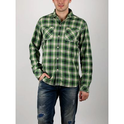 Košile Replay CHECKED FLANNEL TWILL Zelená